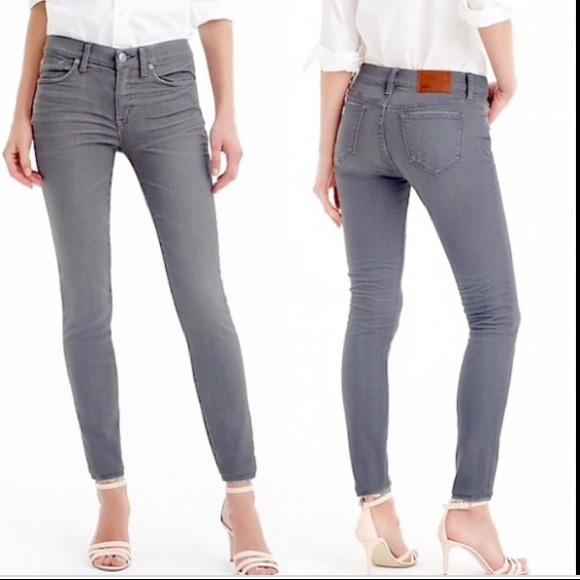 J.Crew Mid Rise Gray Toothpick Skinny Jeans 26